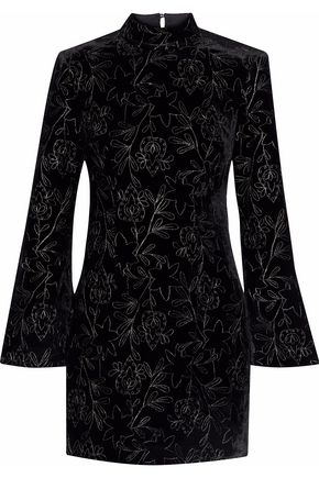 CINQ À SEPT Cutout metallic embroidered velvet mini dress