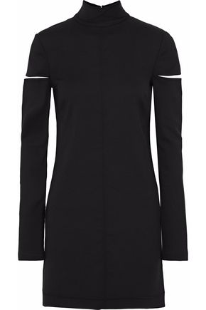 HELMUT LANG Cutout wool-blend twill turtleneck mini dress