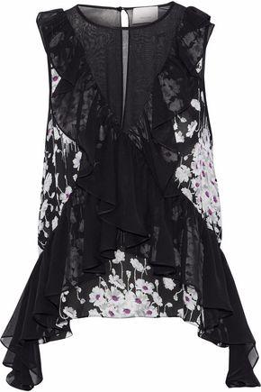 CINQ À SEPT Ruffled floral-print silk-chiffon blouse