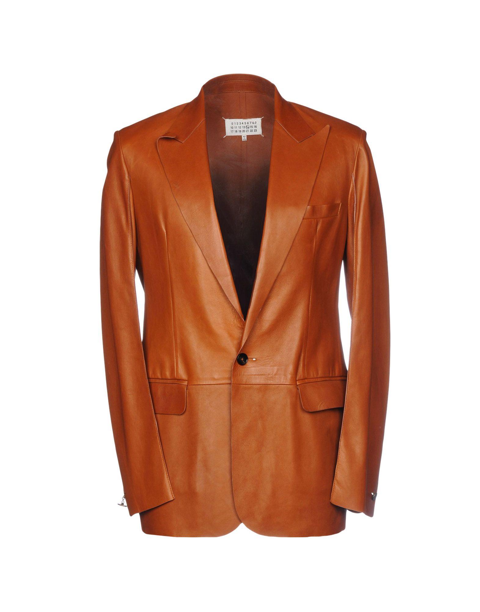 《送料無料》MAISON MARGIELA メンズ テーラードジャケット ブラウン 48 100% 羊類革