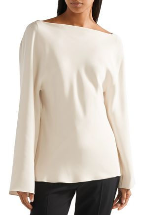 THE ROW Andra draped silk top
