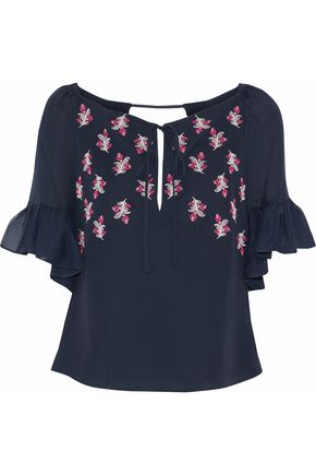 CINQ À SEPT Daria embroidered silk-chiffon blouse