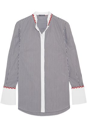 ALEXANDER MCQUEEN Embroidered striped cotton-piqué shirt