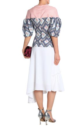 EMILIA WICKSTEAD Sibyl woven-paneled printed crepe de chine blouse