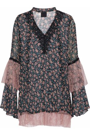 ANNA SUI Corded lace-paneled floral-print silk-georgette top