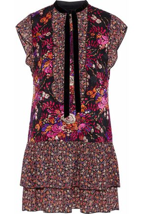 ANNA SUI Ruffled floral-print jacquard and chiffon mini dress