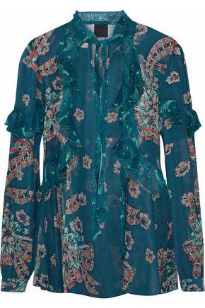 ANNA SUI Ruffle-trimmed floral-print silk-chiffon blouse