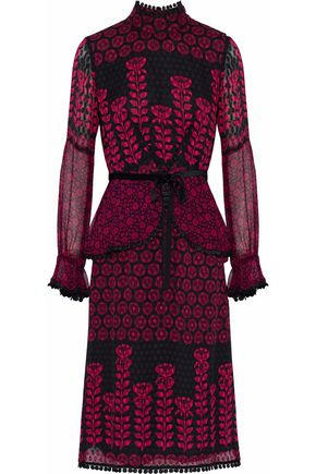 ANNA SUI Embroidered lace-trimmed printed fil coupé silk dress
