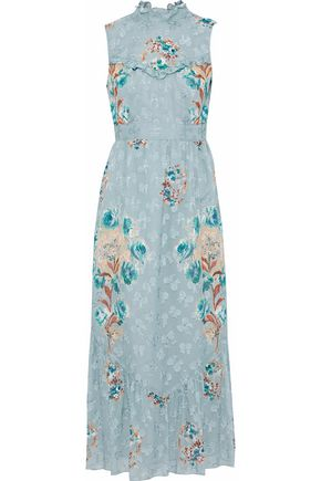 ANNA SUI Floral-print silk-blend fil coupé midi dress