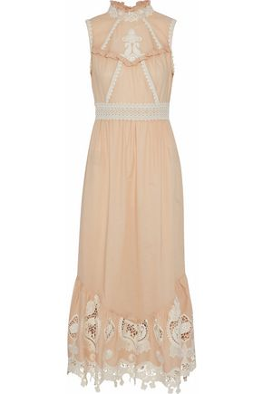 ANNA SUI Open-back giupure lace-paneled cotton-poplin midi dress