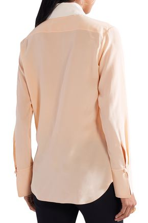 CHLOÉ Two-tone silk crepe de chine shirt