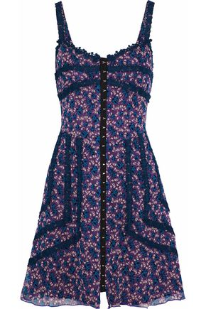 ANNA SUI Crochet-trimmed floral-print silk-georgette mini dress