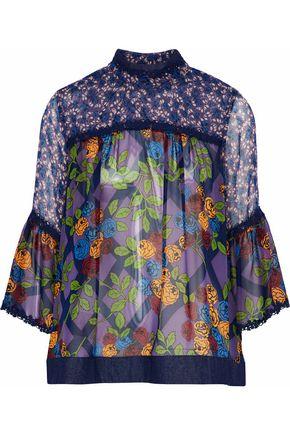 ANNA SUI Denim-trimmed floral-print silk-chiffon top