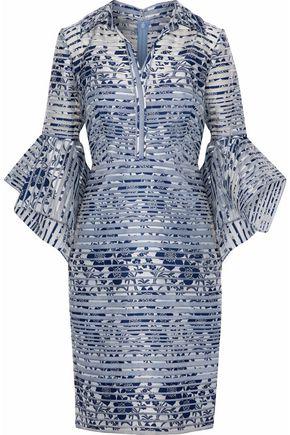 BADGLEY MISCHKA Fluted woven-paneled floral-jacquard dress