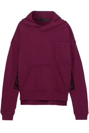 HAIDER ACKERMANN Satin-paneled cotton-terry sweatshirt