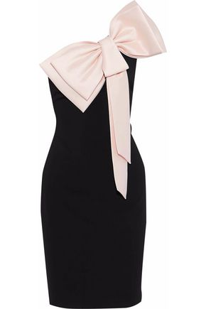 BADGLEY MISCHKA One-shoulder bow-embellished crepe dress