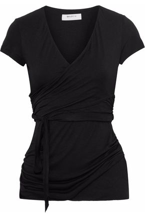 BAILEY 44 Wrap-effect mélange stretch-jersey top