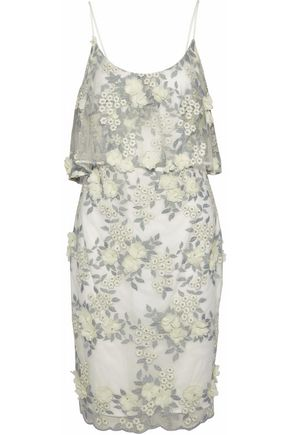 BADGLEY MISCHKA Metallic floral-appliquéd embroidered layered tulle dress