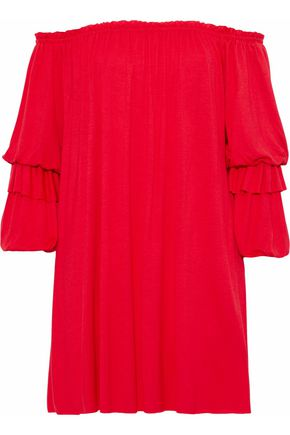 BAILEY 44 Blue Blood off-the-shoulder gathered stretch-jersey mini dress