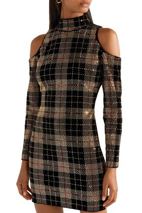 BALMAIN Cold-shoulder embellished checked cotton-velvet mini dress