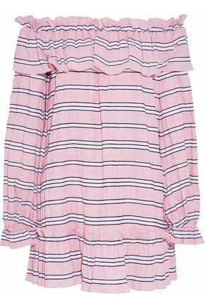 NICHOLAS Clara off-the-shoulder striped cotton-poplin mini dress