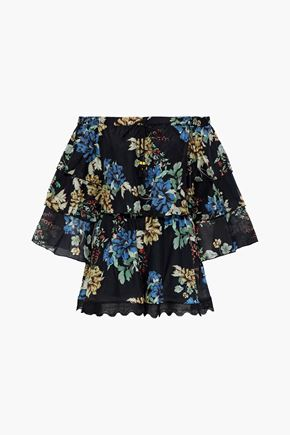 NICHOLAS Florian off-the-shoulder floral-print cotton and silk-blend playsuit