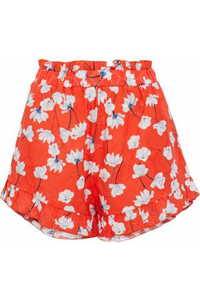 NICHOLAS Ruffle-trimmed broderie anglaise cotton shorts
