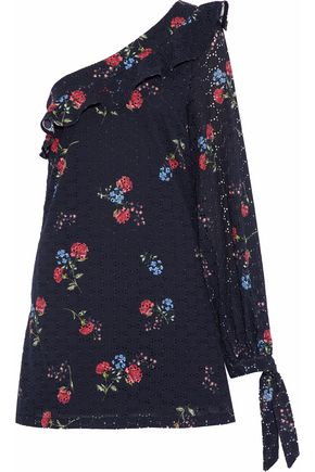 NICHOLAS One-shoulder floral-print broderie anglaise cotton mini dress