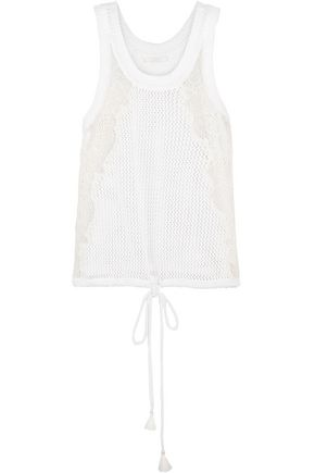 CHLOÉ Lace-paneled open-knit cotton top