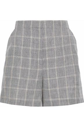 HOUSE OF DAGMAR Irma checked linen-blend shorts