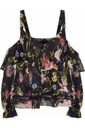 NICHOLAS Savanna cold-shoulder ruffled floral-print silk-chiffon top