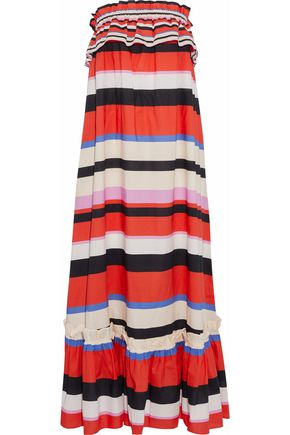NICHOLAS Amalfi strapless striped cotton-poplin maxi dress