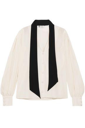 LANVIN Pussy-bow two-tone silk crepe de chine blouse