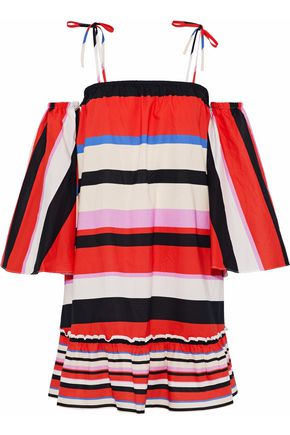 NICHOLAS Amalfi convertible striped cotton-poplin dress