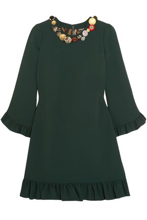 DOLCE & GABBANA Embellished ruffled crepe mini dress