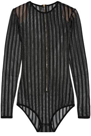 BALMAIN Striped open-knit bodysuit