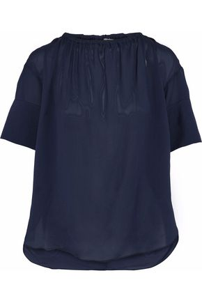 HOUSE OF DAGMAR Lou gathered textured crepe de chine blouse