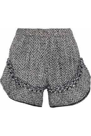 NICHOLAS Ruffle-trimmed frayed tweed shorts