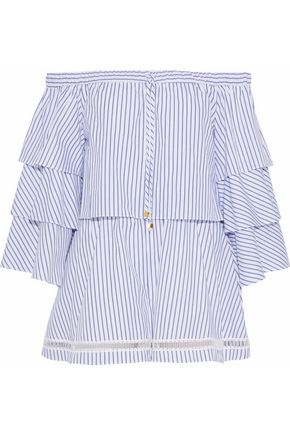 NICHOLAS Off-the-shoulder striped cotton-poplin playsuit