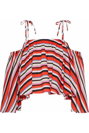 NICHOLAS Amalfi cold-shoulder cropped striped cotton-poplin top