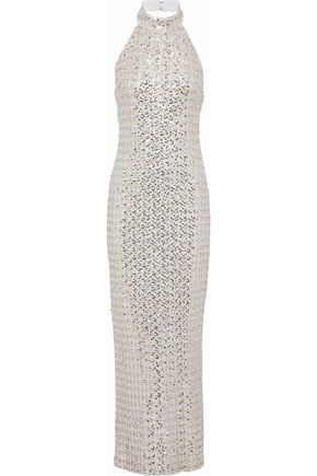 BADGLEY MISCHKA Sequined tulle halterneck gown