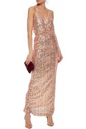 80331a7c5743a BADGLEY MISCHKA Wrap-effect sequined tulle gown