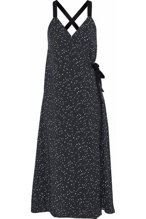 HOUSE OF DAGMAR Scarla crinkled-sateen midi wrap dress