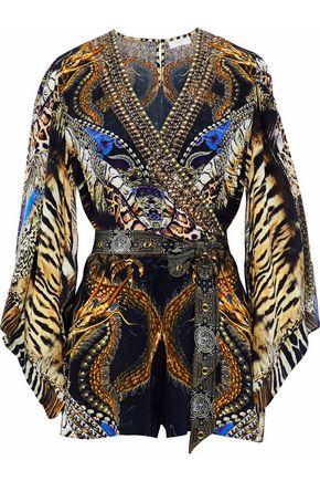 CAMILLA Wrap-effect crystal-embellished printed silk playsuit