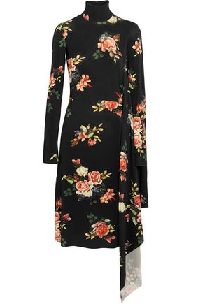 VETEMENTS Open-back asymmetric floral-print stretch-jersey dress