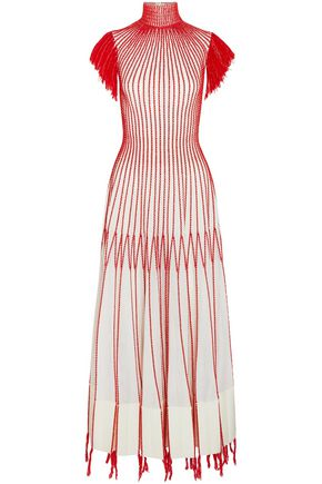 ALEXANDER MCQUEEN Tasseled embroidered plissé-silk midi dress
