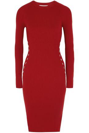 MUGLER Embellished ribbed-knit dress