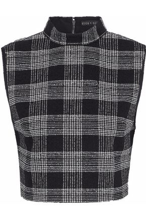 ALICE + OLIVIA Garland cropped checked bouclé-tweed top