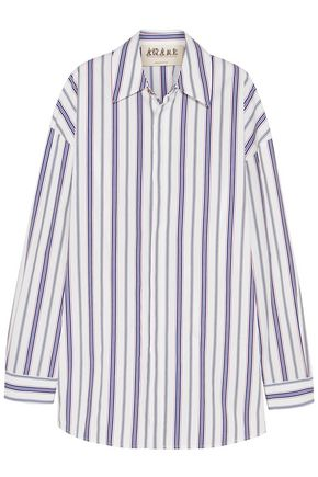 A.W.A.K.E. Oversized striped cotton-poplin shirt