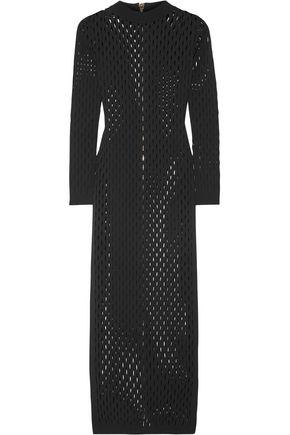 BALMAIN Perforated stretch-knit maxi dress